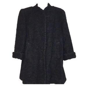 VTG 50's Black Persian Curly Wool Coat Jacket SZ M